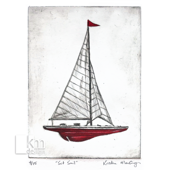 "Red Sailboat ""Set Sail"", [product type],handmade - Kristine MacGregor - KM Design - Art - Printmaking"
