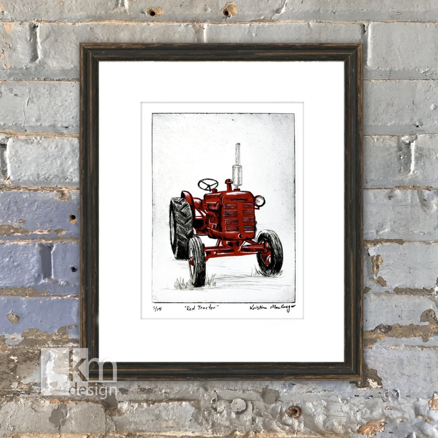 Red Tractor, [product type],handmade - Kristine MacGregor - KM Design - Art - Printmaking