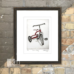 "Red Tricycle ""Forever Young"", [product type],handmade - Kristine MacGregor - KM Design - Art - Printmaking"