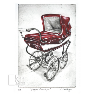 "Red Vintage Carriage ""Oxford Carriage"", [product type],handmade - Kristine MacGregor - KM Design - Art - Printmaking"