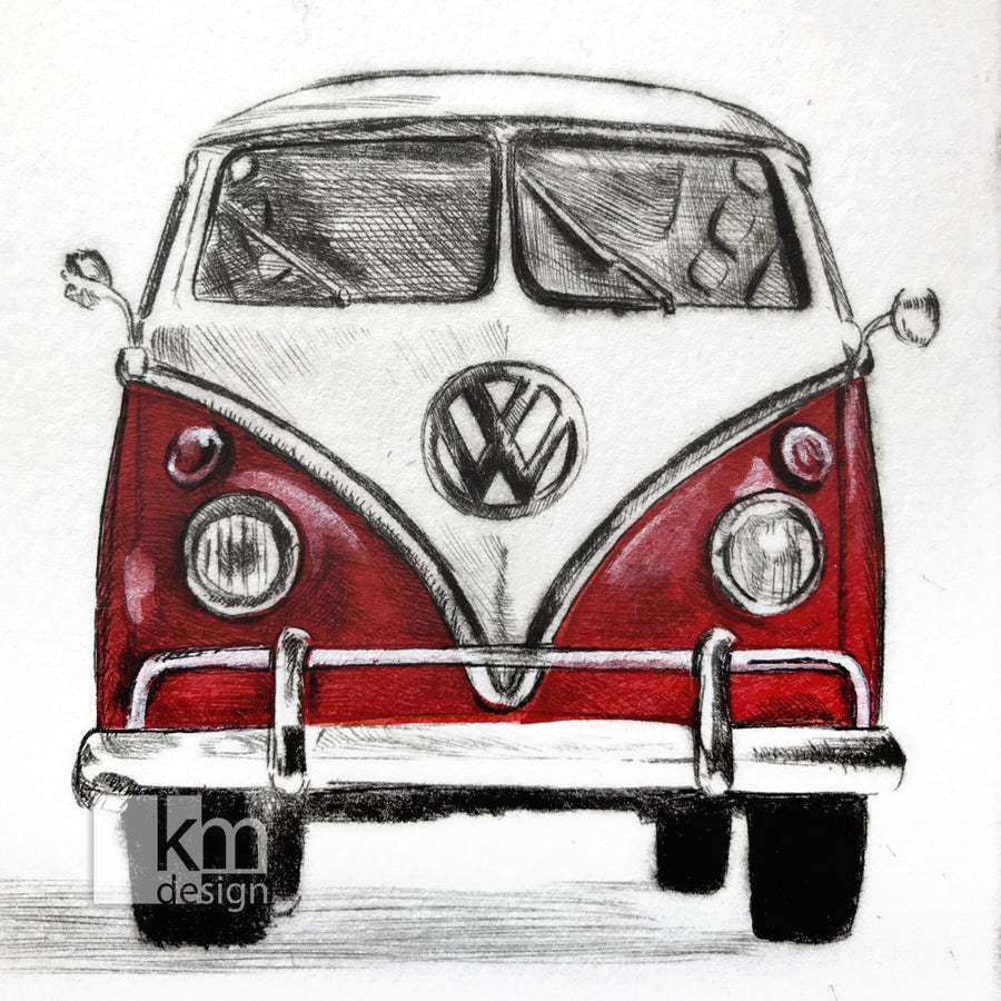 "Red Volkswagon Camper Van ""Road Trip"", [product type],handmade - Kristine MacGregor - KM Design - Art - Printmaking"