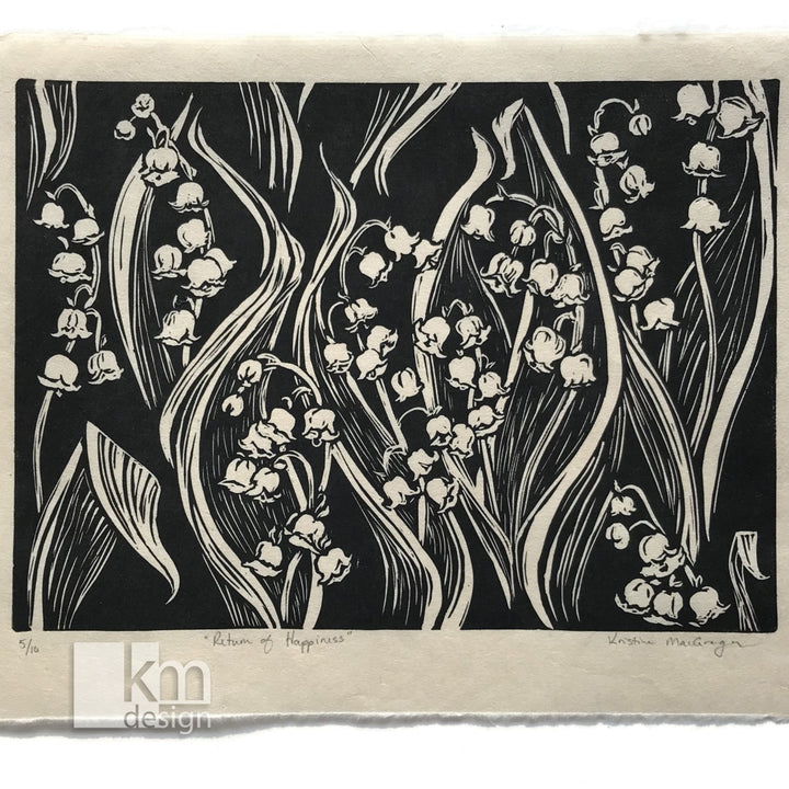 Return of Happiness - Lily of the Valley, [product type],handmade - Kristine MacGregor - KM Design - Art - Printmaking