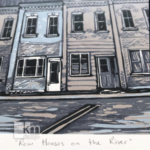 Row Houses on the River, [product type],handmade - Kristine MacGregor - KM Design - Art - Printmaking