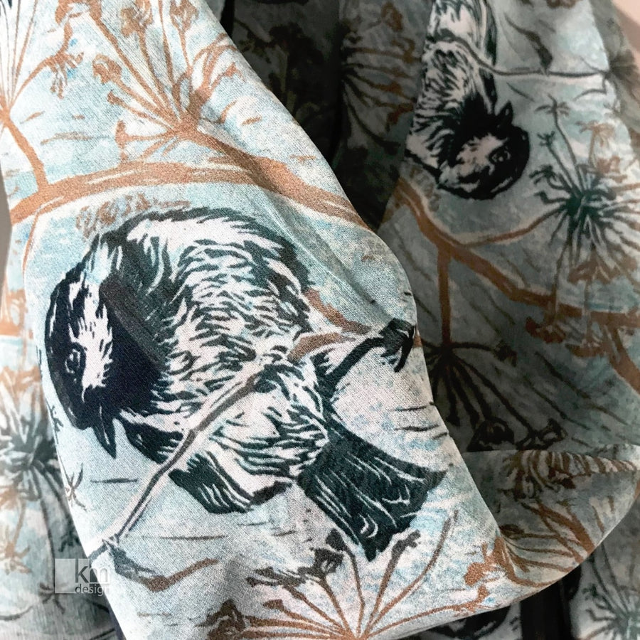 Silk Scarf - Chickadee in the Lace, [product type],handmade - Kristine MacGregor - KM Design - Art - Printmaking
