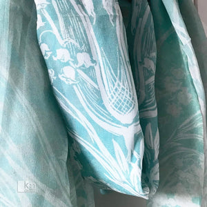 Silk Scarf - MintLily of the Valley Butterfly - Kristine MacGregor - KM Design