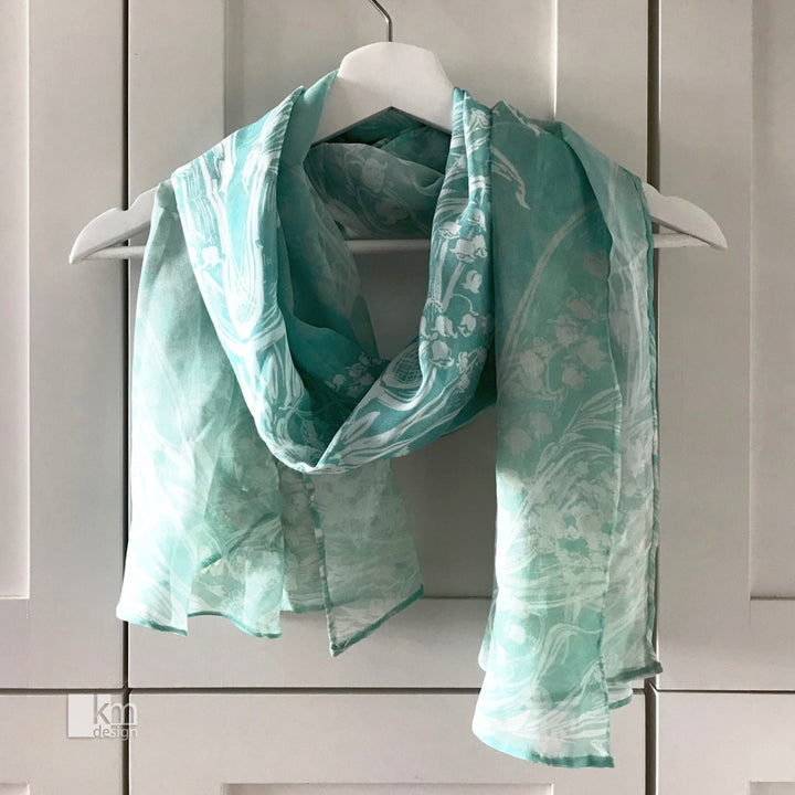 Silk Scarf - MintLily of the Valley Butterfly, [product type],handmade - Kristine MacGregor - KM Design - Art - Printmaking