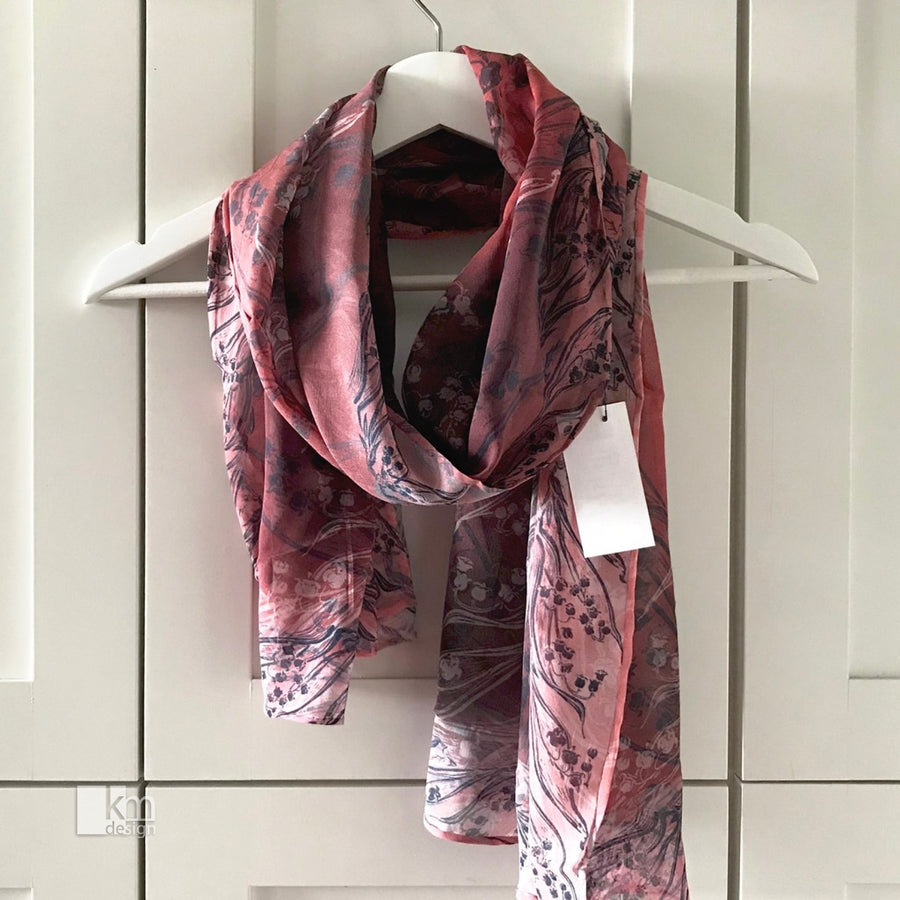 Silk Scarf - Red and navy Lily of the Valley - Kristine MacGregor - KM Design