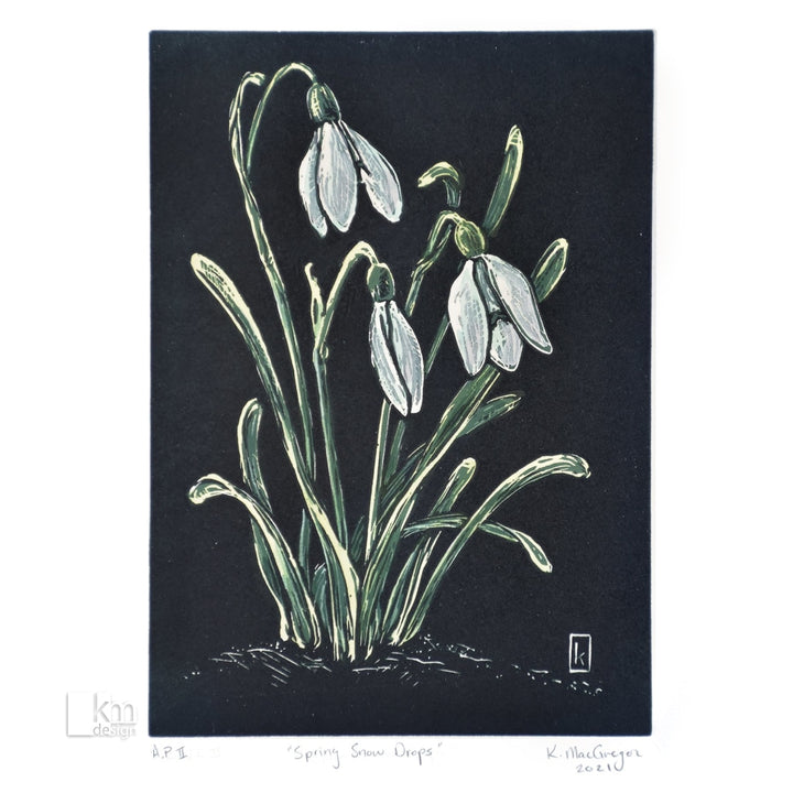 Spring Snowdrops - January Original Print