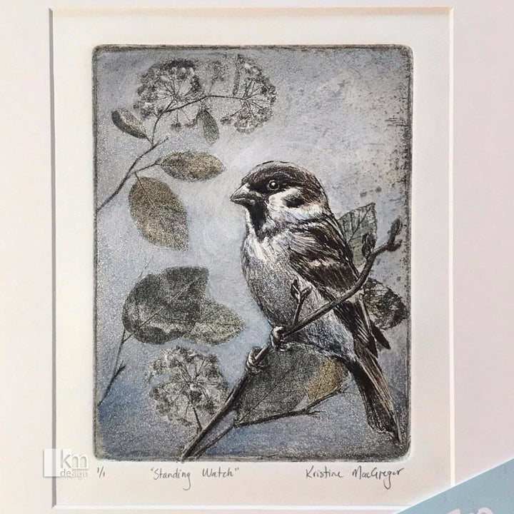 Standing Watch - Sparrow soft ground Etching, [product type],handmade - Kristine MacGregor - KM Design - Art - Printmaking