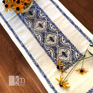 Table Runner - Bee & Wheat, [product type],handmade - Kristine MacGregor - KM Design - Art - Printmaking