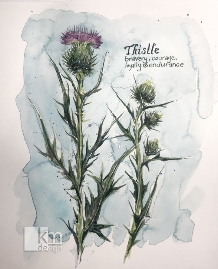 Thistle, [product type],handmade - Kristine MacGregor - KM Design - Art - Printmaking