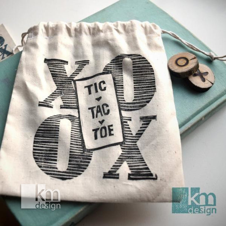 Tic Tac Toe - Game Bag, [product type],handmade - Kristine MacGregor - KM Design - Art - Printmaking