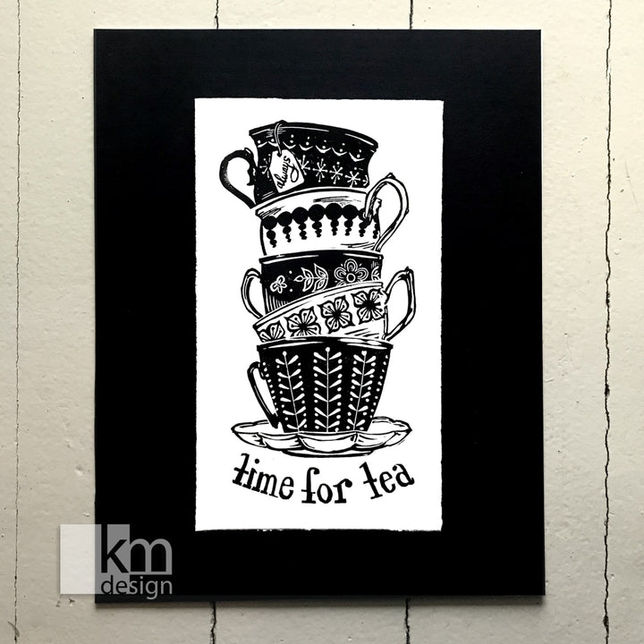 Time for Tea, [product type],handmade - Kristine MacGregor - KM Design - Art - Printmaking