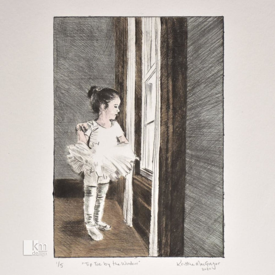 Tip Toe by the Window - Ballerina - Original Drypoint Print, [product type],handmade - Kristine MacGregor - KM Design - Art - Printmaking