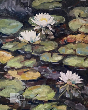 Waterlilies, [product type],handmade - Kristine MacGregor - KM Design - Art - Printmaking