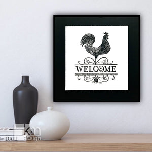 Welcome - Rooster, [product type],handmade - Kristine MacGregor - KM Design - Art - Printmaking