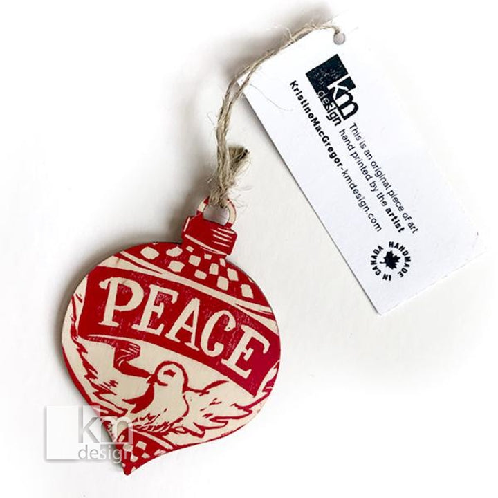 Wood Ornament - Peace, [product type],handmade - Kristine MacGregor - KM Design - Art - Printmaking