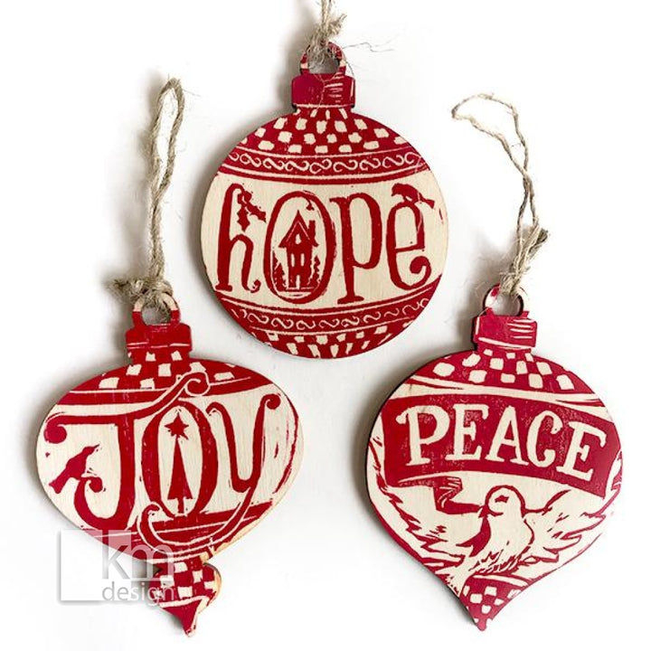 Wood Ornament - Set of 3 - Peace, Hope & Joy - Kristine MacGregor - KM Design