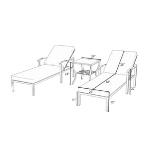 Carnegie 3pc Chaise Lounge Set