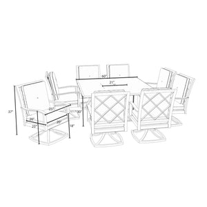 Carnegie 9pc Fire Dining Set