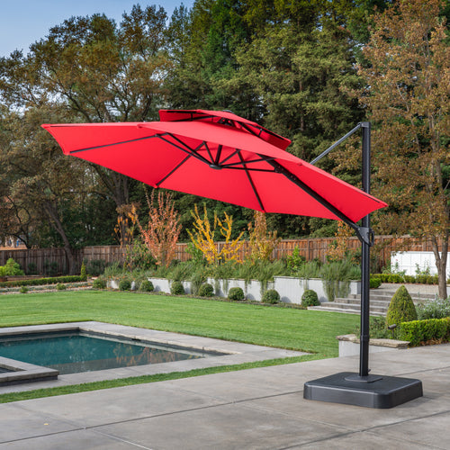 11' Sunbrella® Round Offset Umbrella - Jockey Red