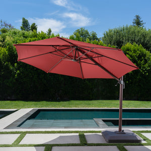 11' EverTru Wood Grain Offset Umbrella - Red