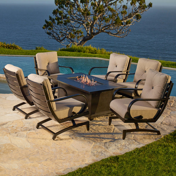 Whitehall 7-Piece Cushion Fire Deep Seating Set