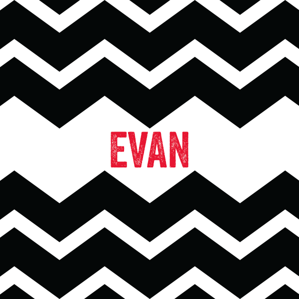 Chevron Name Pillow Cover BLACK