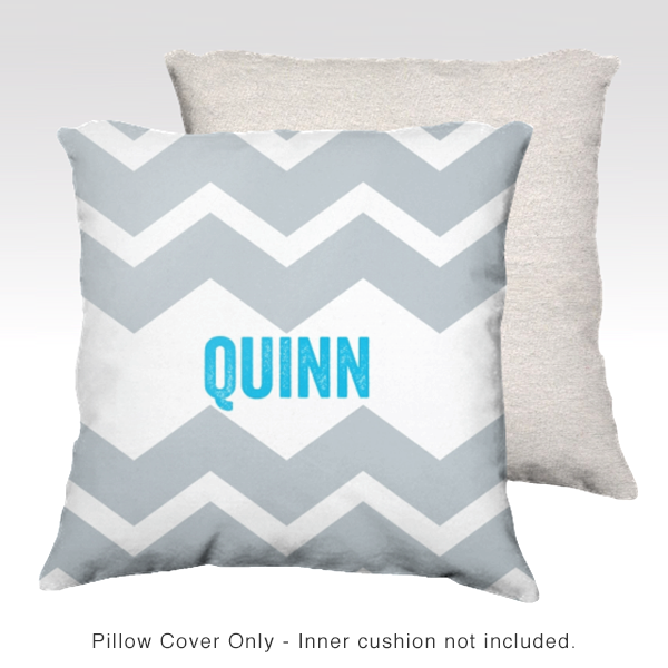 Chevron Name Pillow Cover GRAY