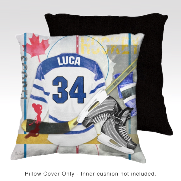Hockey BLUE Personalized Pillow Cover