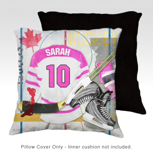 Hockey PINK Personalized Pillow Cover