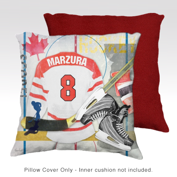 Hockey RED Personalized Pillow Cover