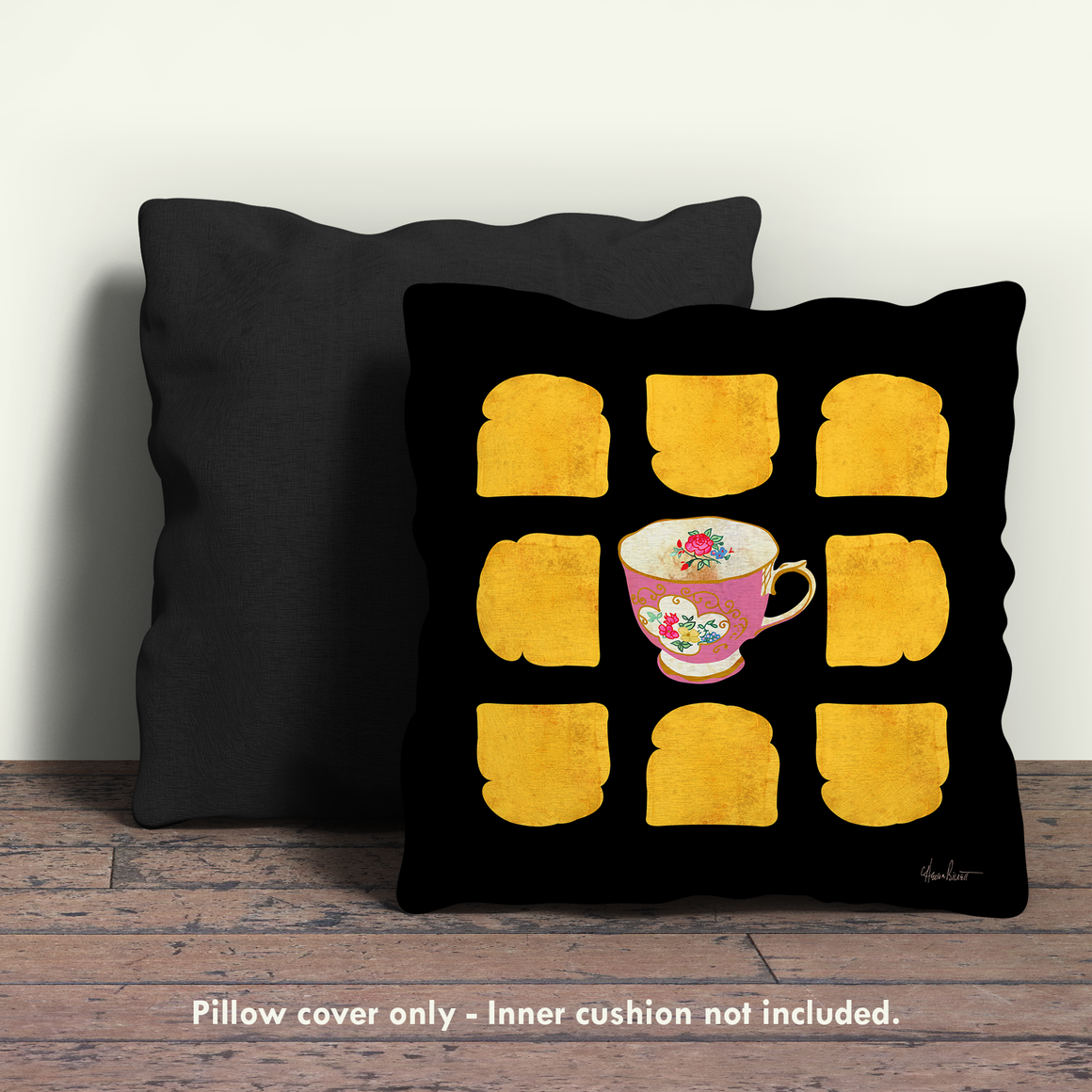 Tea & Toast, Pink Floral Pillow Cover
