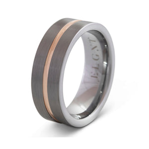 Responsible 8mm Silver & Rose Gold Tungsten Ring - Mens Wedding Band elgntdesigns