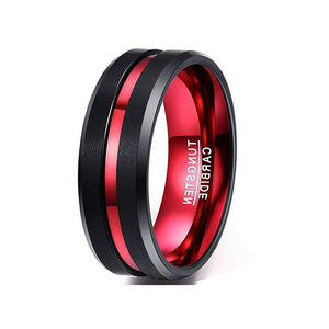 Humor 8mm Red & Black Tungsten Ring - Mens Wedding Band elgntdesigns
