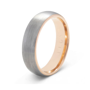 Impeccable 6mm Brushed Silver & Rose Gold Tungsten Ring - Mens Wedding Band elgntdesigns