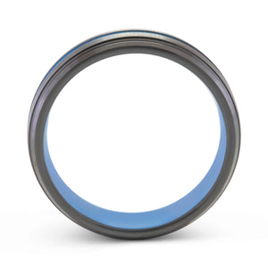 Generosity 6mm Blue & Black Tungsten Ring - Mens Wedding Band elgntdesigns