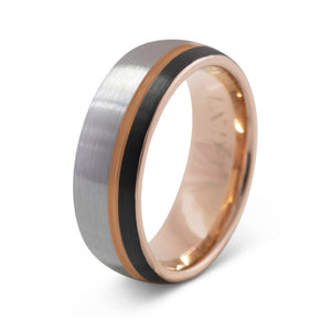 Independence 8mm Silver, Black, & Rose Gold Tungsten Ring - Mens Wedding Band elgntdesigns