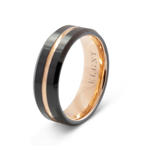 Confidence 8mm Black and Rose Gold Tungsten Ring - Mens Wedding Band elgntdesigns