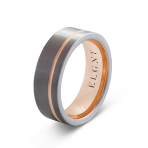 Reliable 8mm Silver & Rose Gold Tungsten Ring - Mens Wedding Band elgntdesigns