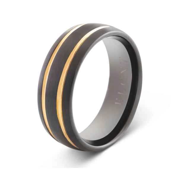 Daring 8mm Black and Gold Tungsten Ring - Mens Wedding Band elgntdesigns