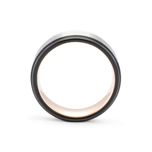 Responsive 8mm Silver, Black, & Rose Gold Ring - Mens Wedding Band elgntdesigns