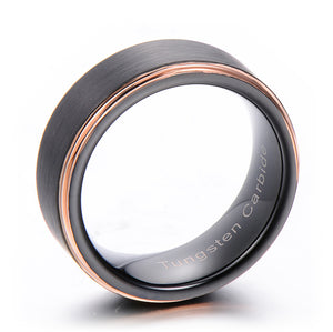 Balanced 8mm Black & Rose Gold Tungsten Ring - Mens Wedding Band elgntdesigns