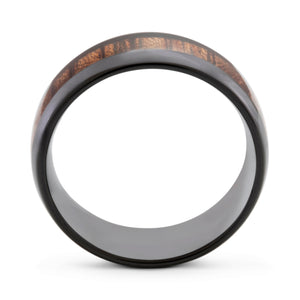 Nature 8mm Koa Wood & Black Tungsten Ring - Mens Wedding Band elgntdesigns