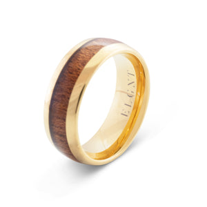 Finesse 8mm Wood & Gold Tungsten Ring - Mens Wedding Band elgntdesigns