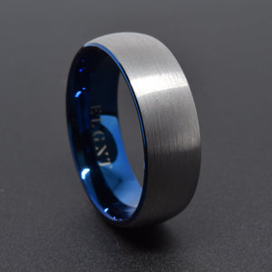 Persistence 8mm Blue & Silver Tungsten Ring - Mens Wedding Band elgntdesigns
