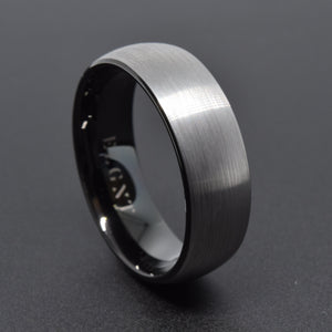 Respect 8mm Silver & Black Tungsten Ring