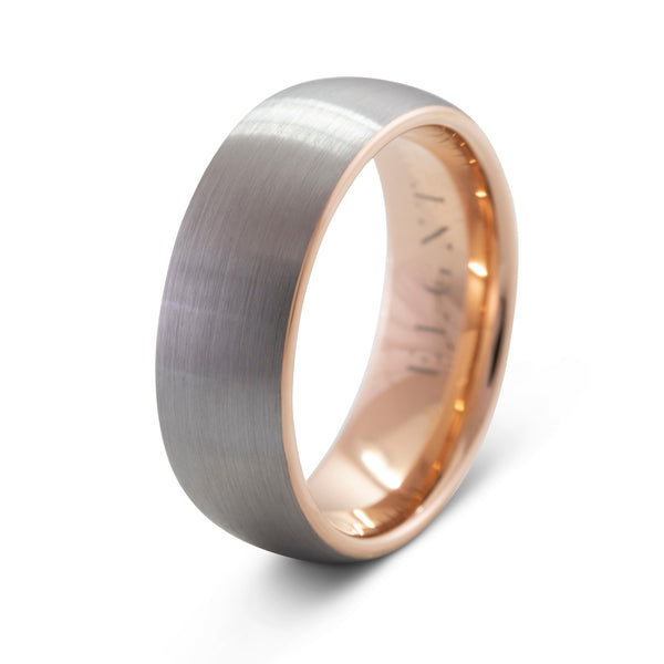 Impeccable 8mm Silver & Rose Gold Tungsten Ring
