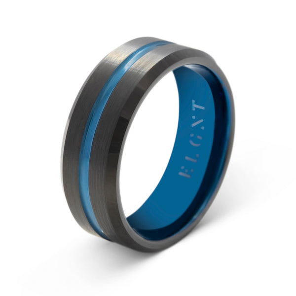 Dedication 8mm Black and Blue Ring - Mens Wedding Band elgntdesigns
