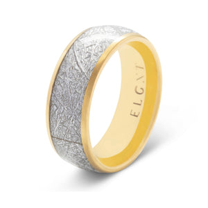Dreamer 8mm Meteorite & Gold Tungsten Ring - Mens Wedding Band elgntdesigns